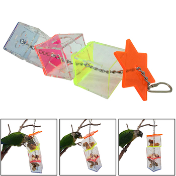 3 Layer Parrot Hanging Chewing Feeding Toy Bird Feeding Transparent Food Feeder Holder Hanging Forage Box Cage Toy 2