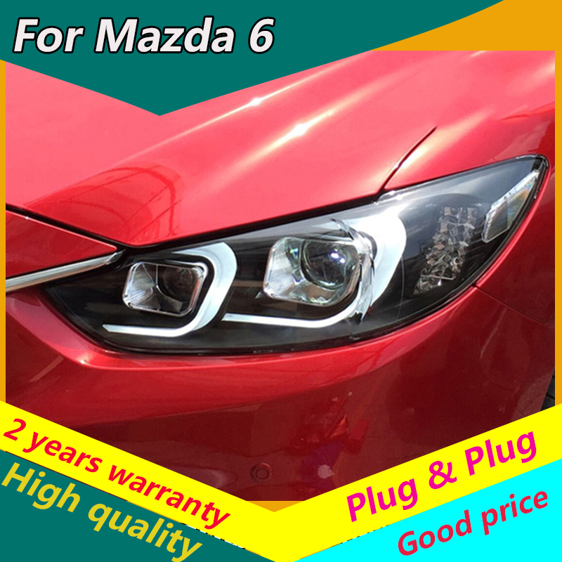 KOWELL Car Styling for Mazda6 2014-17 Atenza <font><b>LED</b></font> Headlight <font><b>Mazda</b></font> <font><b>6</b></font> Headlights DRL Lens Double Beam H7 HID Xenon Car Accessories image