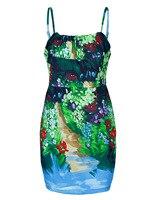 2019 Summer Twill Printed Elegant Strap Skirt Women's Clothing Dress