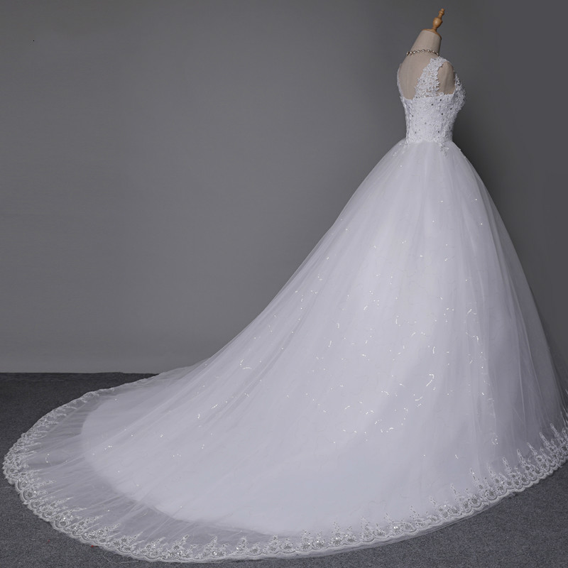 2019 Ball Wedding Dresses Double Shoulder Long Train Lace Bridal Dress Plus Size Customized Gowns Real Photo  Robe Mariage