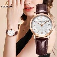 STARKING Fashion Horloges Vrouwen Vintage Leather Luxe Horloge Dames Roestvrij Staal Automatische Vrouwen Pols Horloges 5ATM Waterdicht