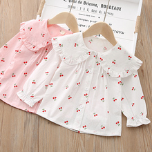 IENENS Girls Blouses Clothes Baby Spring Shirts Toddler Infant Cherry Print Tees Tops 1 2 3 4 Years Kids Cotton Shirt