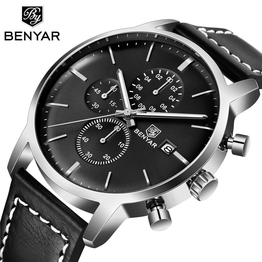 BENYAR 2019 New Men's Top Outdoor Fashion Sport Chronograph Men 30M Waterproof Leather Wristwatch Mens casual clock Reloj Hombre|Quartz Watches| |  - title=
