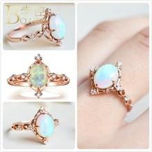 Vintage Opals Rings For Women Wedding Rose Gold Engagement Promise Ring Girl Gift Delicate Australia Gem Stone Ring Female K5 delicate engraved faux gem jewelry ring for men
