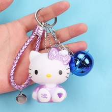New Hello Kitty Cat Cartoon Keychain Jewelry Cute Womens Bag Pendant Fashion Bell Couple Key Ring Car Gift wholesale