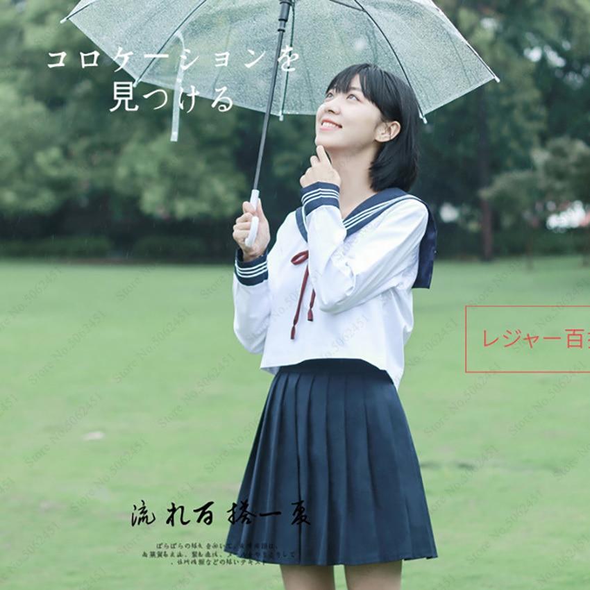 Navy Sailor Japanese Style School Uniform Korean Style Fashion Tops Kawaii Girl Pleated Skirt Clothing Set Anime Cosplay Costume