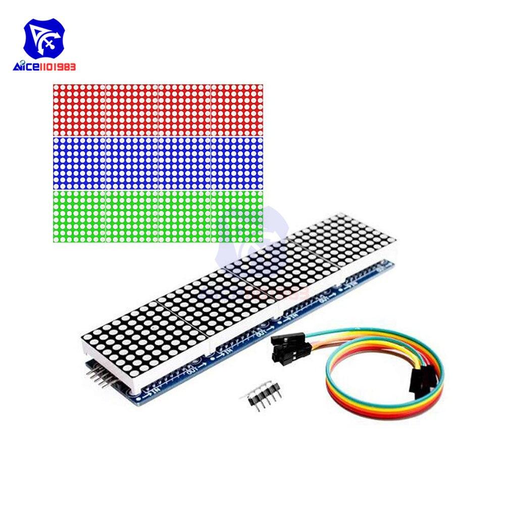 Diymore 4 em 1 max7219 rgb dot led matriz ânodo comum mcu 8x32 controle módulo de exibição led unidade para arduino raspberry pi