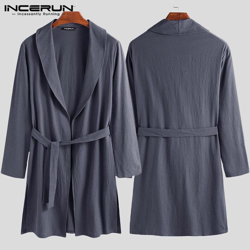 INCERUN 2019 Men Solid Lapel Fashion Sexy Long Sleeve Nightgown Cotton Mens Bathrobe Casual Belt Dressing Gown Homewear Pajamas