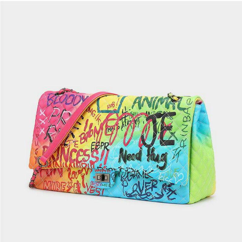 Image 3 - Women Bag 2019 New Color Graffiti Printed Shoulder Big Bags 