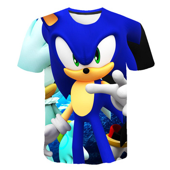 2020 Summer New Kids Sonic the Hedgehog T Shirt 3D Print Cartoon Anime T-shirts Dragonball Shirt Polyester Tee Asian Size 4~14T image