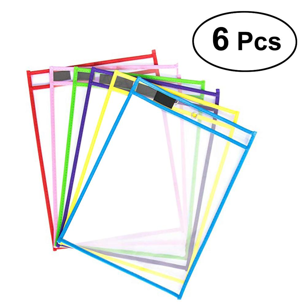 Kids Transparent Write And Wipe Pockets Reusable Dry Erase Pockets Sleeves 6 Assorted Colors With Pen Holder #CO