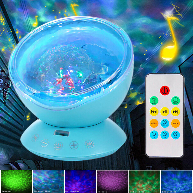 Relaxing Ocean Night Light Music Projection Calming Autism Sensory LED Light Ocean Wave Projector