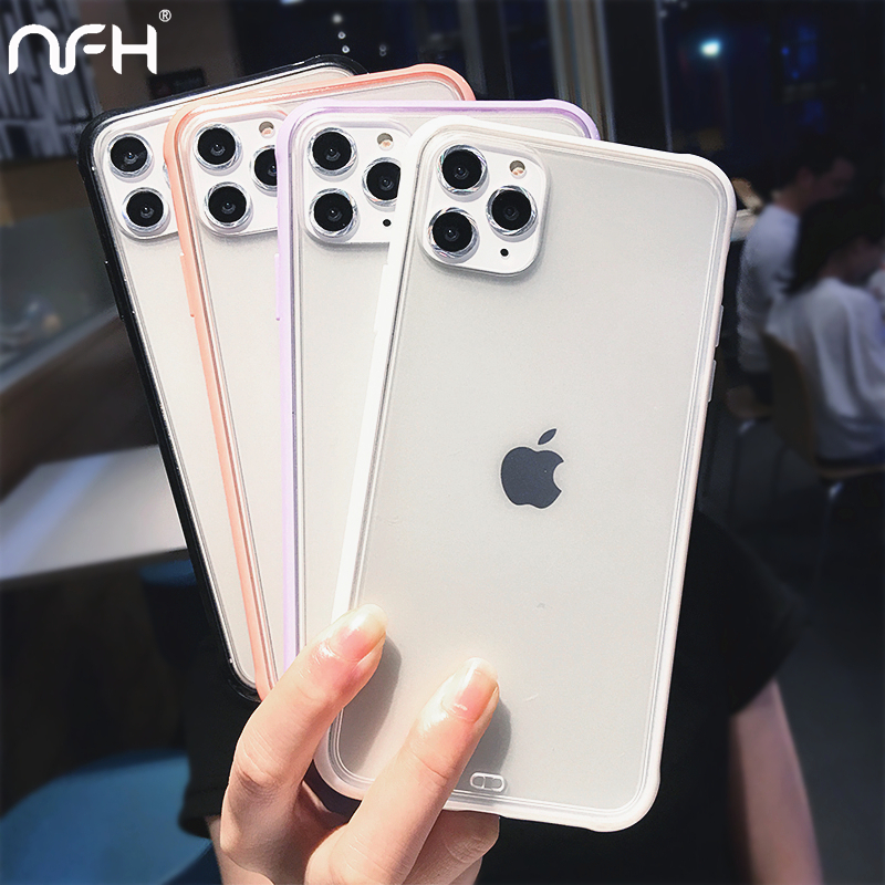 Luxury Matte Acrylic Cover Case For iPhone 11 Pro Max on 6 6S 7 8 Plus X XS XR XS Max Candy Silicone Bumper Shell For iPhone 11