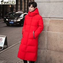 Boolili Men #8217 s Winter X-Long Hooded Duck Outdoors Outerwear Winter Male Casual Fashion White Duck Down Jacket Coat Menswear 4XL cheap REGULAR 6577 zipper Full PATTERN Pockets Wave Cut Zippers Chains Thick (Winter) Broadcloth Acetate Polyester Hat Detachable