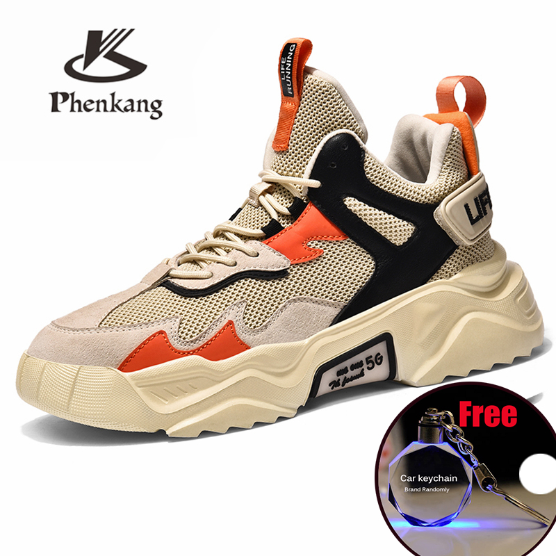 Phenkang Men Casual Sneakers Shoes  White Thick Sole  Adult Male Comfortable Shoes Brand  Sneakers Breathable High Mesh Shoes