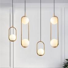 Lampe pendante moderne de boule en verre luminaire suspendu en métal Global nordique pour la chambre à coucher de salle à manger
