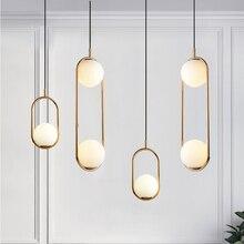 Moderna Luminária De Vidro Bola Nórdico Global Metal Pingente Luminária Para Sala de Jantar Quarto