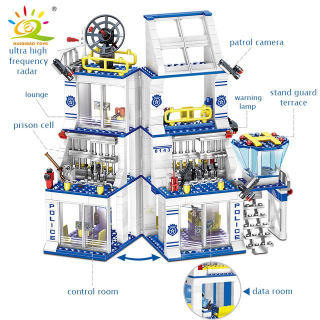 HUIQIBAO 873pcs Police Station Prison Building blocks City policeman Figures truck car Bricks set Educational Toys For Children
