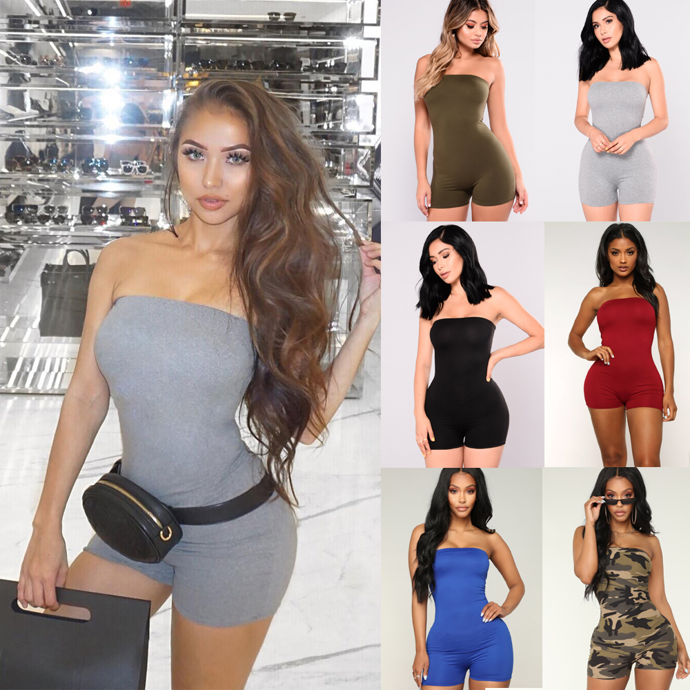 Women Slim-fit  Sexy Playsuit Lady Girls Strapless Bandeau  Holiday Mini Playsuits  Summer Shorts Jumpsuit