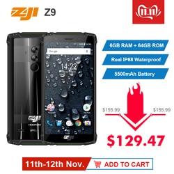 Original Global Versão HOMTOM ZJI ZOJI Z9 6 GB GB IP68 64 5500 mAh À Prova D' Água Android 8.1 5.7
