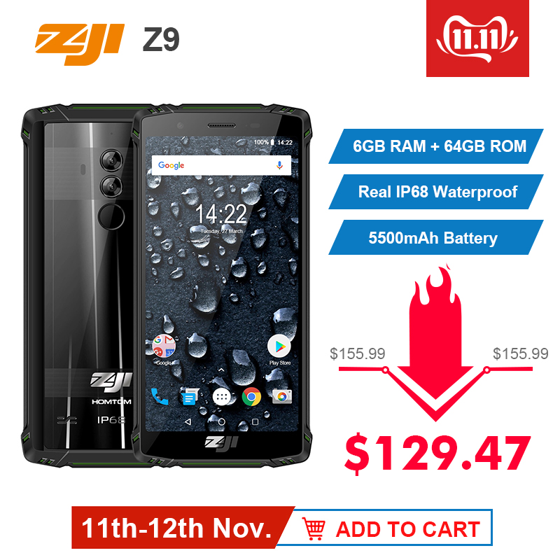 Original Global Version HOMTOM ZJI ZOJI Z9 6GB 64GB IP68 5500mAh Waterproof Android 8.1 5.7