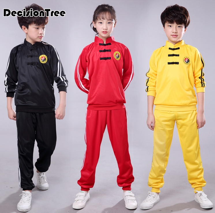 2019 Chinese Wushu Uniform Kungfu Clothes Martial Arts Suit Performance Children Outfit Kick Boxing Sets For Kids Girls Boys