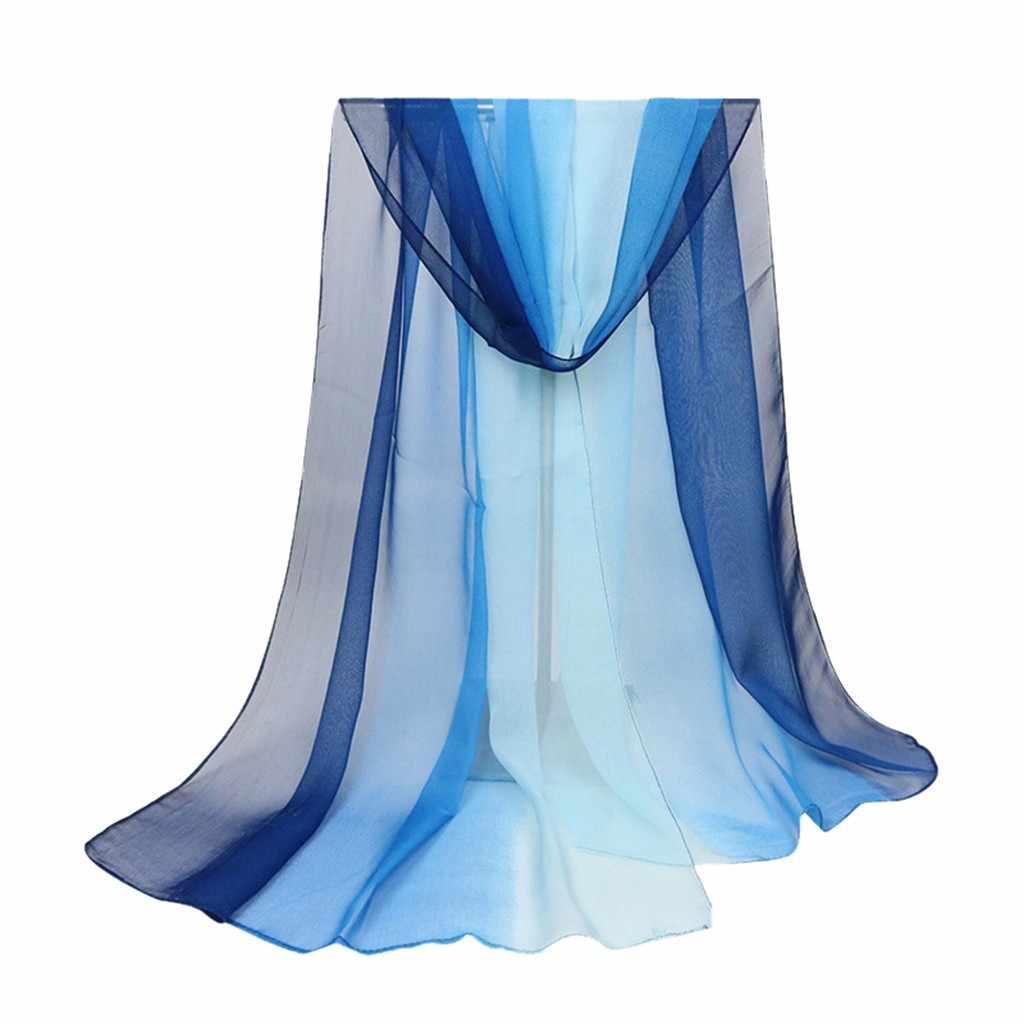 שיפוע שיפון panelled גבירותיי צעיפי שיפוע אור צעיף ג 'ורג' ט דק חוף כורכת אופנה משי צעיף שיפון חיג 'אב # ZA