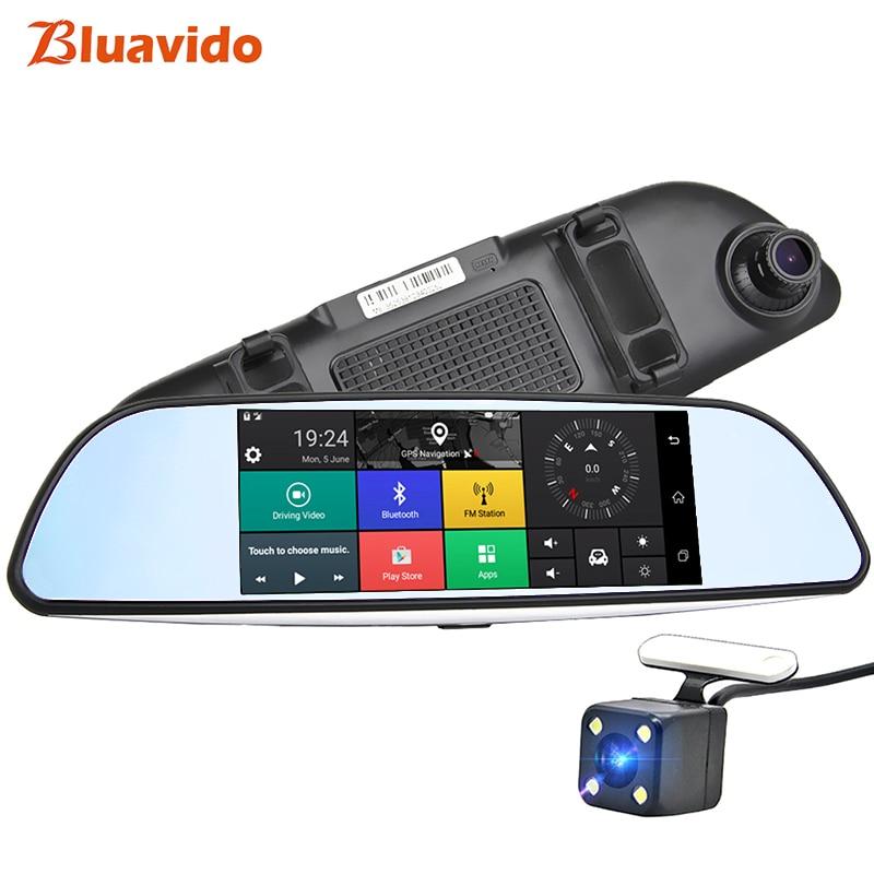 Bluavido 7 Inch Car Rearview Mirror DVR 4G ADAS Android GPS Navigation FHD 1080P Dash Camera WiFi Monitoring Auto Video Recorder