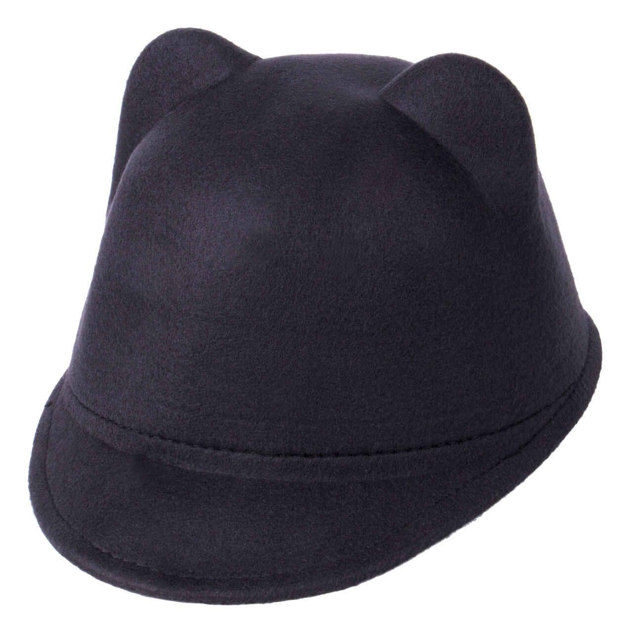 Sıcak satış katı kış sıcak çocuklar bebek kız kedi kulakları yün Derby Bowler kap 3D kulaklar Vintage kostüm oynamak kasketli şapka kap