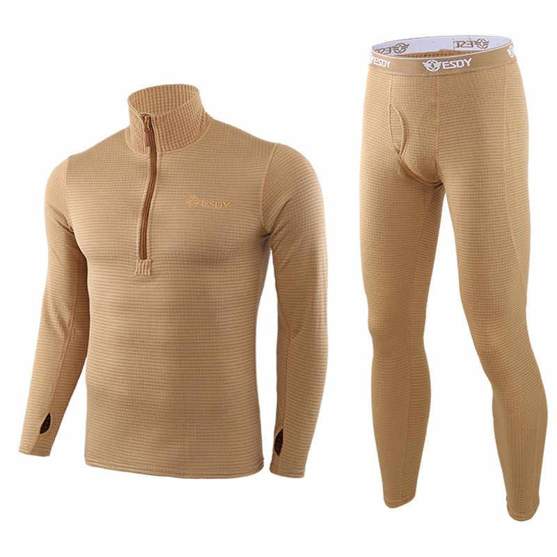 Musim Dingin Pria Pakaian Dalam Termal Outdoor Square Shake Bulu Kemeja Celana Setelan Olahraga Bersepeda Taktis Pelatihan Tempur Tetap Hangat Set