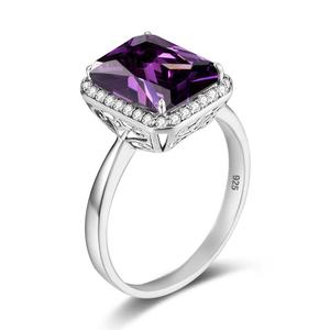 Szjinao Purple Amethyst Ring For Women Silver 925 Sterling Square Gemstone With Diamond Platinum Luxury Jewelry Fine Wedding(China)