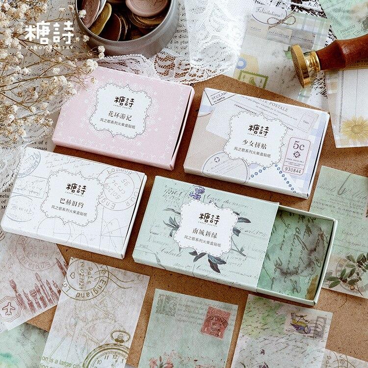 30pcs/box Matchbox Label Retro Pragmatism Series Memo Pad Sticker Background Paper DIY Decorative Stickers Stationery Supply