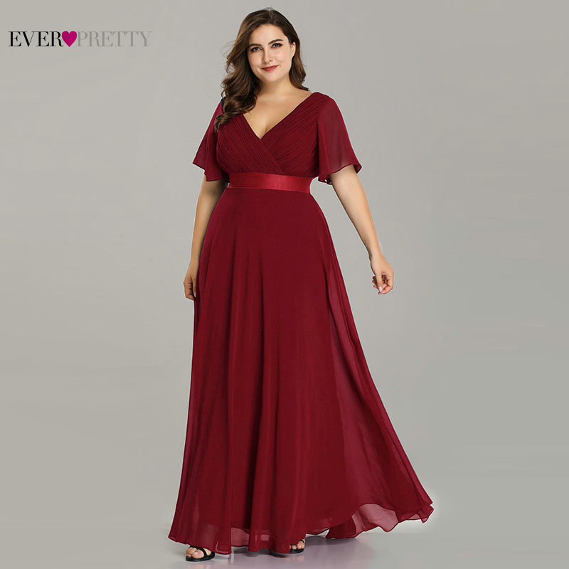 Plus Size Prom Dresses Ever Pretty Elegant A-Line Double V-Neck Ruffles Elegant Chiffon Formal Party Gowns Robe De Soiree 2020