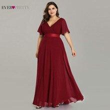 Plus Size Prom Dresses Ever Pretty Elegant A Line Double V Neck Ruffles Elegant Chiffon Formal Party Gowns Robe De Soiree 2020