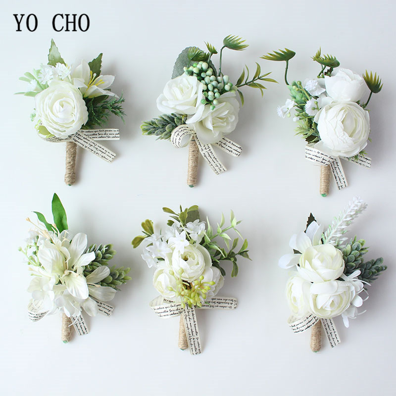 Wedding Groom Boutonniere Bridesmaid Flowers Bracelet White Rose Boutonniere Corsage Pin Flower Wedding Witness Corsages Flower