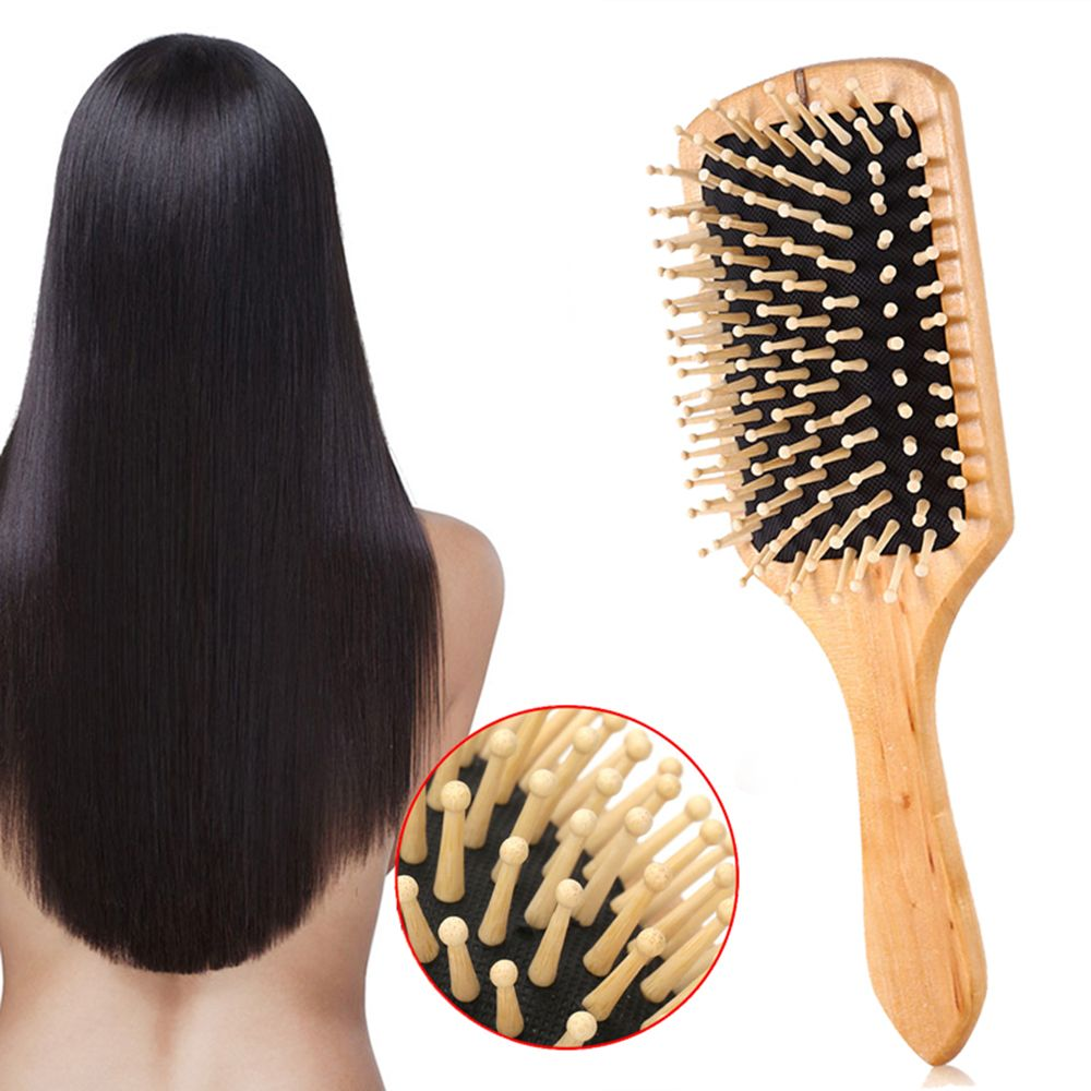 New 1PC Wood Comb Professional Healthy Paddle Cushion Hair Loss Massage Brush Hairbrush Comb Scalp Hair Care Healthy Bamboo Comb