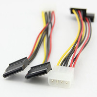DC65 68 Computer Cable 4 Pin IDE Power Splitter 1 Male To 2 Female ATA / SATA Power Cable Y Splitter JLF