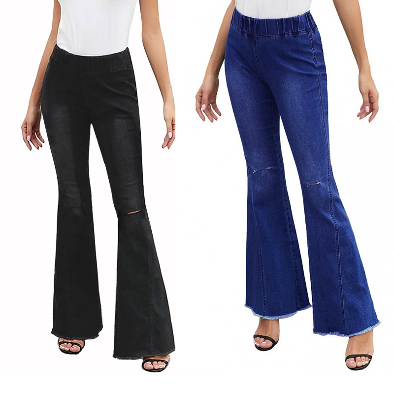 Women Fashion Hollow Hole Denim Flare Jeans Boyfriend Jeans Ladies High Waist bell bottom jeans Pants Autumn Loose Wide Leg Jean