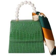 Caker Brand 2019 Women PU Leather Alligator Beaded Handbag