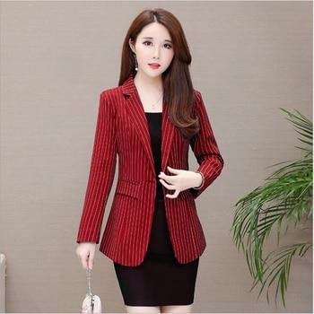 New Spring autumn striped suit jacket female slim temperament ladies fashion retro style women
