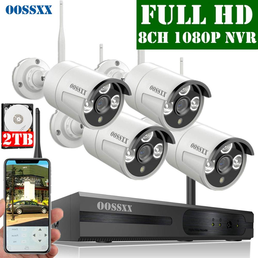 Security Camera System Wireless, 8CH 1080P NVR Kit , 4pcs 1080P(2.0M ) Outdoor CCTV Wireless IP Camera Video Surveillance OOSSXX