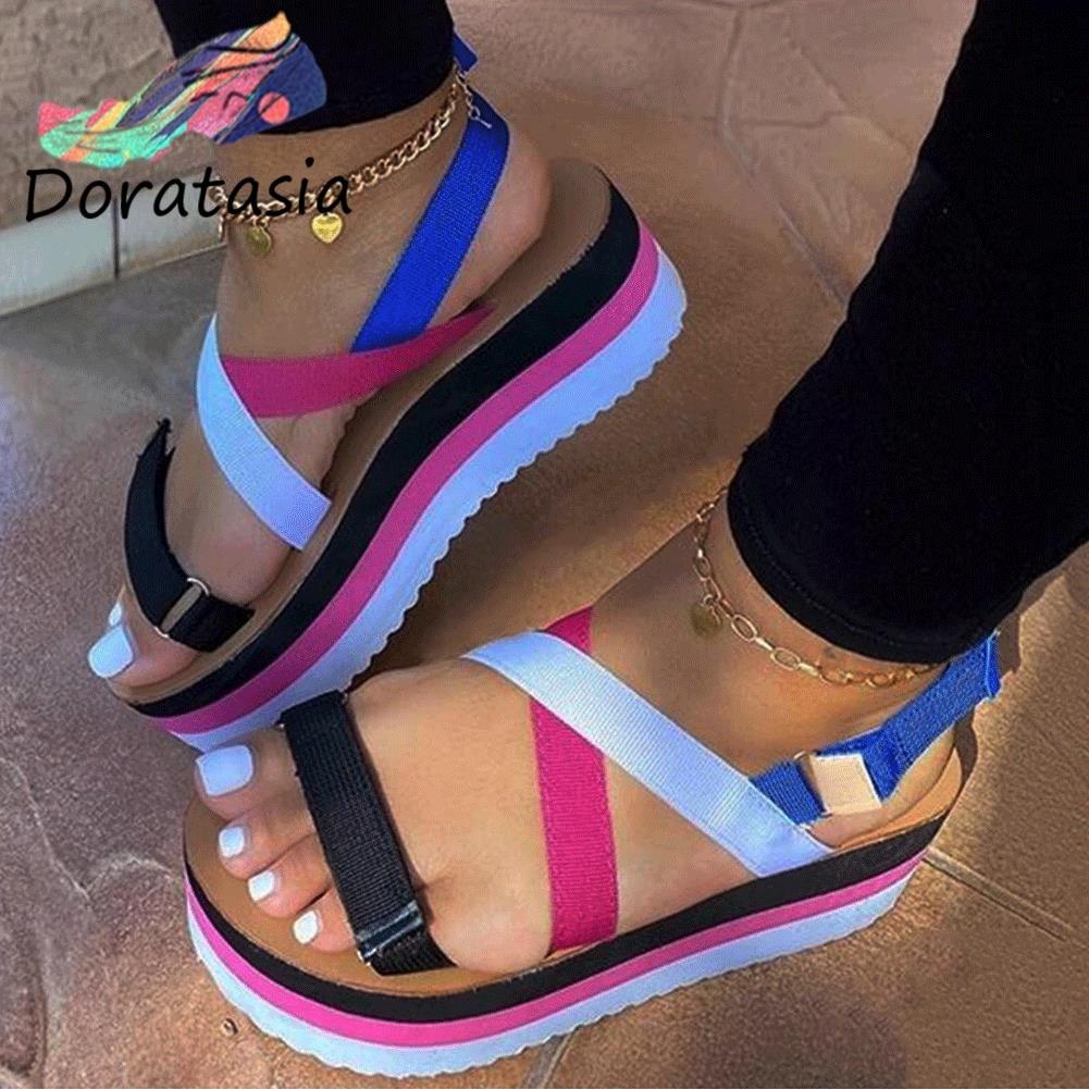 DORATASIA Comfy Trendy Flat Platform Shoes Summer Casual Wedges Sandals Women Newest Hot Mixed-color Ins Sandals