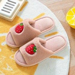 Apanzu women slippers house winter flats Cute Cartoon Fruit Strawberry room slippers Couples Shoes Warm Plush Furry Sliders