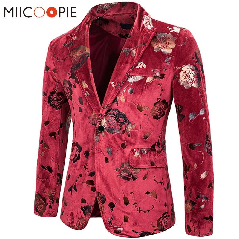Mens Suit Jacket Blazers Gold Bronzing Rose Floral Printed Velvet Blazer Hombre 2019 Korean Stage Costumes Winter Jacket Men