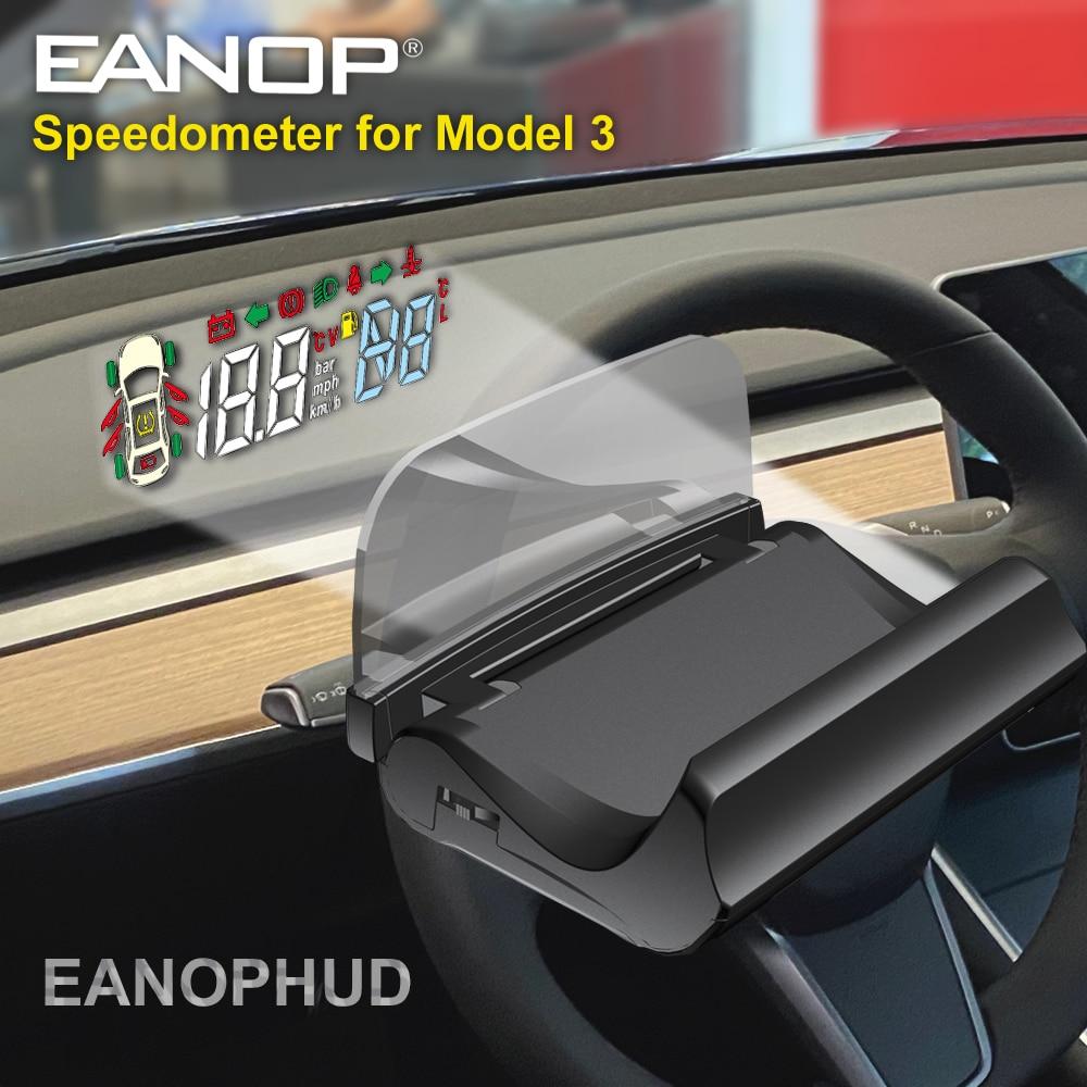 EANOP HUD лобовое стекло Скорость сигнализации проектор Скорость ometer с поворотом шестерни светильник напоминание для tesla модель 3