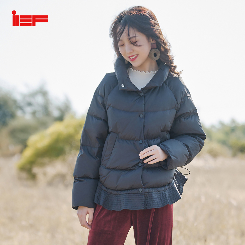 IEF 2019 Winter Solid Aline Thick Short Down Coat Causal Women Loose Turtleneck Long Sleeve Jacket Tops Duck Down 0524A-D060-