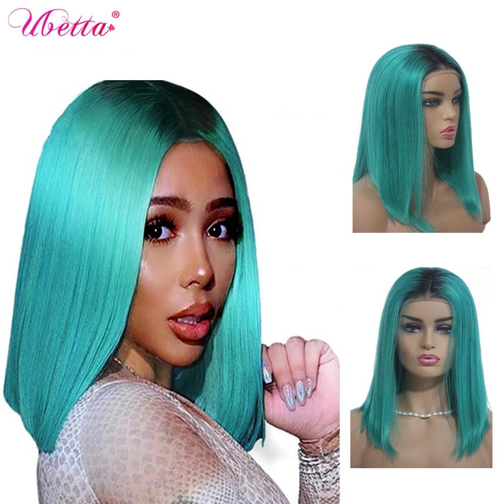 Parrucche per capelli veri UBETTA 1B parrucche per capelli umani blu lago Ombre parrucca corta Bob dritto Pre pizzicato Cosplay capelli Remy donne nere