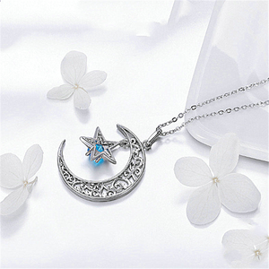 Image 5 - New Romantic 925 Sterling Silver Sparkling Moon And Star Necklaces Pendants for Women Fashion Necklace Jewelry Gift SCN278