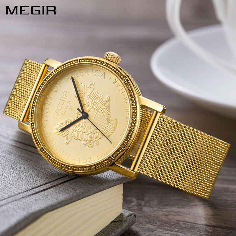MEGIR ファッション高級クォーツメンズ腕時計フルゴールドカラーダイヤルバンド手首時計 Staninless 鋼レーザー刻印レロジオ Masculino