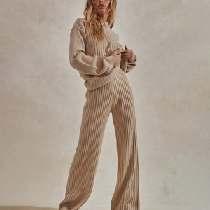 Women's Solid Knitted Two Piece Sets Hooded Long Sleeve Sweater And Elastic Long Trousers Suits Autumn Casual Streetwear